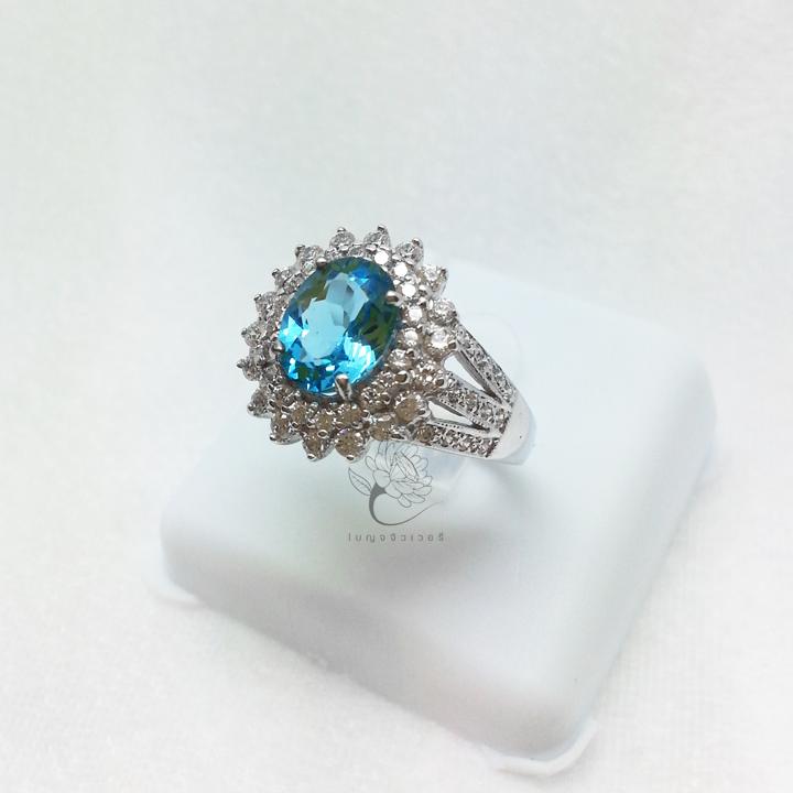 แหวนเงิน งานแฮนด์เมด พลอยสีฟ้า