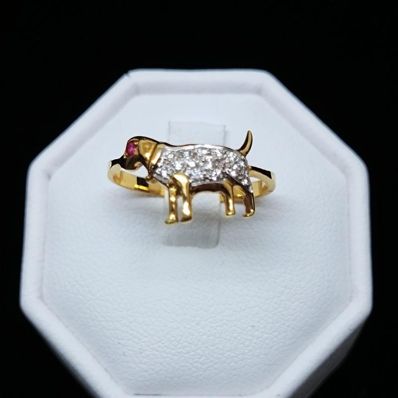 แหวนทอง เพชร รูปน้องหมา สำหรับผู้เกิดปีจอ