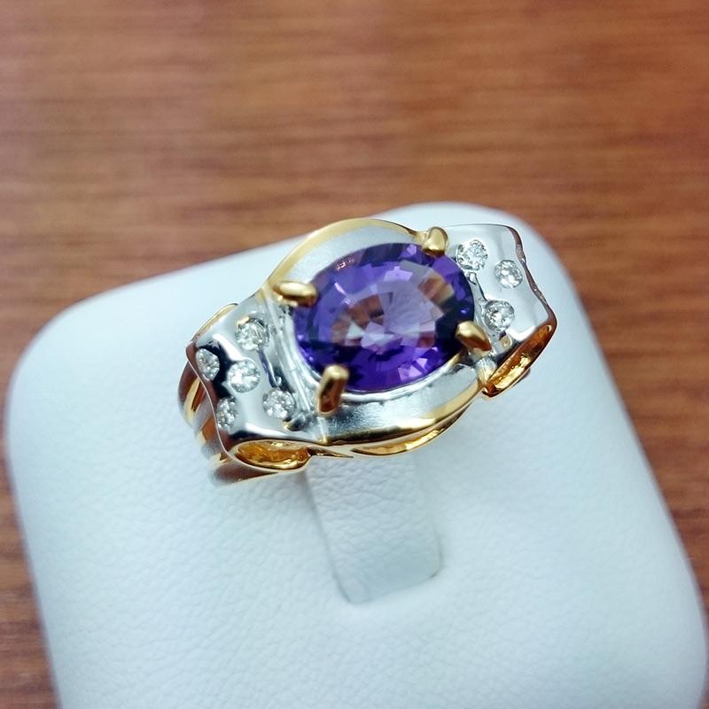 แหวนทอง พลอยม่วงล้อมเพชร