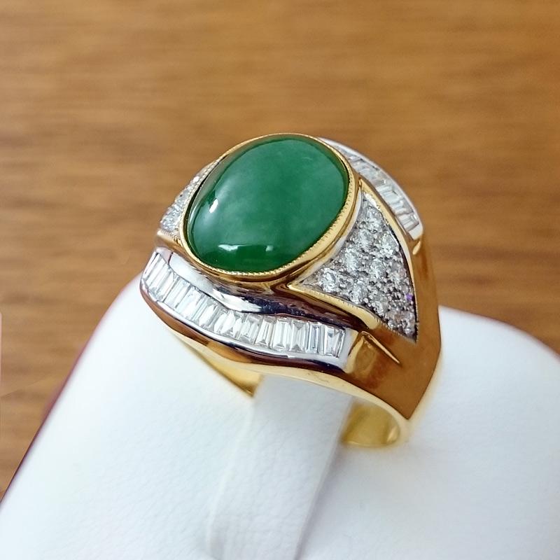 แหวนทอง หยกล้อมเพชร (ผู้ชาย)