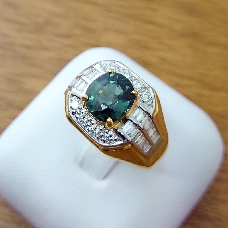 แหวนทอง พลอยมรกต ล้อมเพชร(ผู้ชาย)