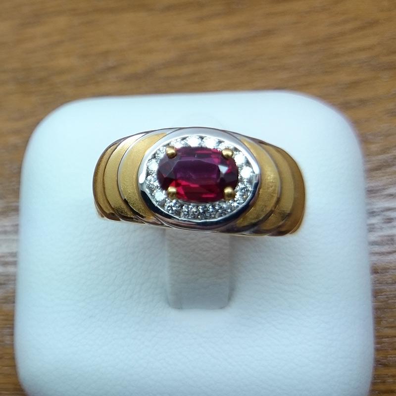 แหวนทอง ทับทิมล้อมเพชร ชั้นทรายทอง